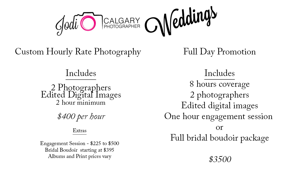 Calgary Wedding Photographer Wedding Prices